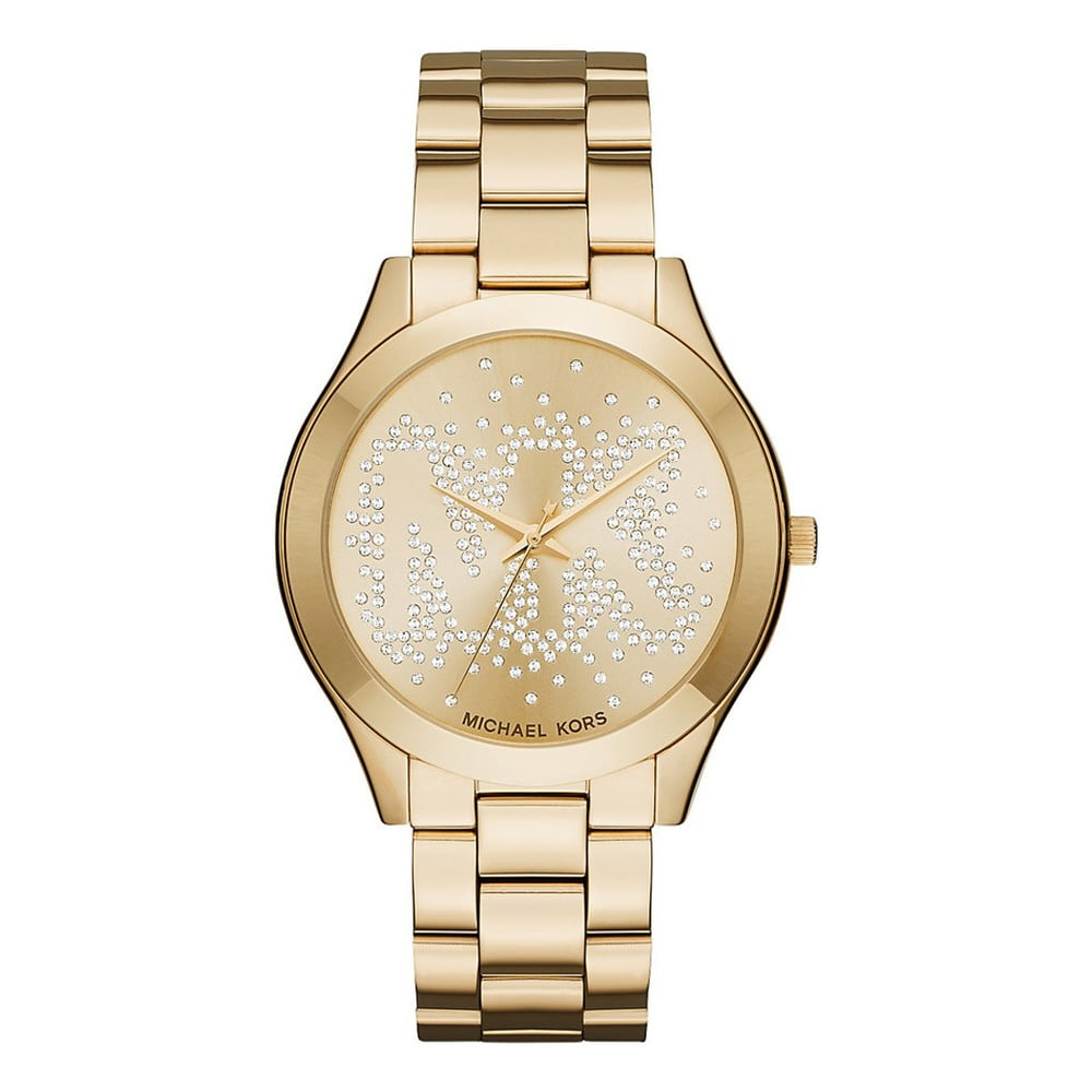 Dámské hodinky zlaté barvy s kamínky Michael Kors Slim Runway  b1170d05b0
