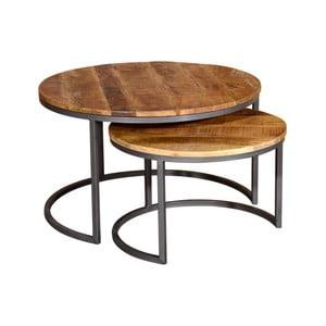 Sada 2 konferenčních stolků z kovu a mangového dřeva VIDA Living