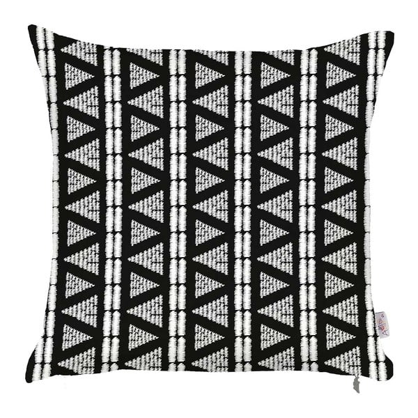 Čierno-biela obliečka na vankúš Apolena Geometric Tribal, 43×43 cm