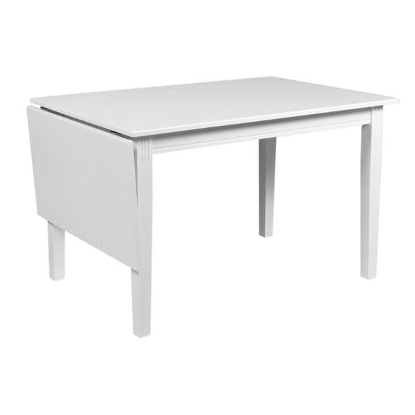 Bílý sklápěcí stůl z dubového dřeva Rowico Wittskar, délka 120-165cm