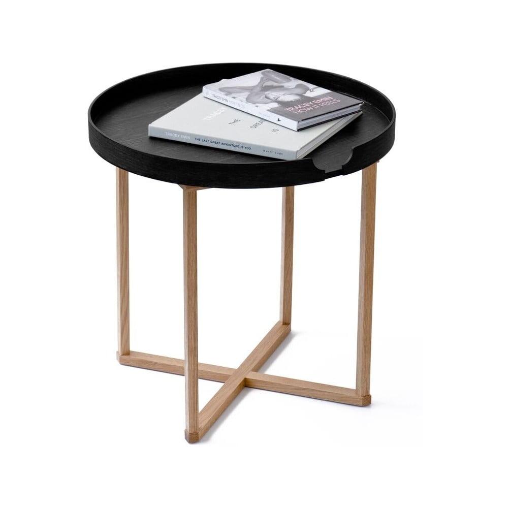 Černý odkládací stolek z dubového dřeva s odnímatelnou deskou Wireworks Damieh, 45x45 cm