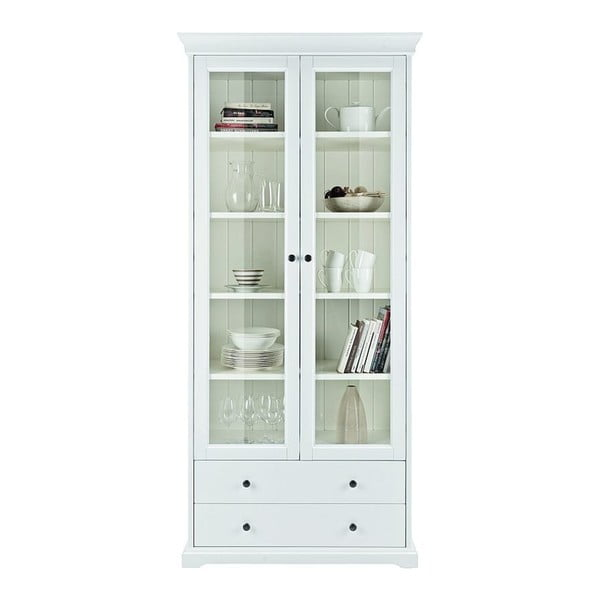 Bílá dvojdveřová vitrína Dřevotvar Ella