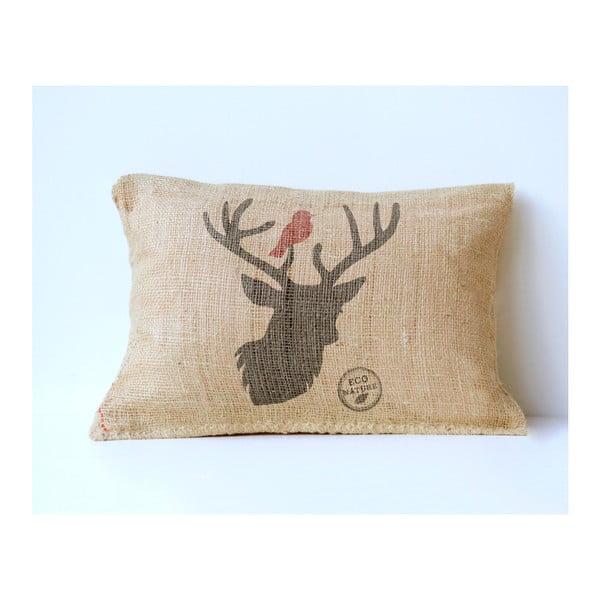 Povlak na polštář z juty Surdic Deer & Bird, 50 x 35 cm