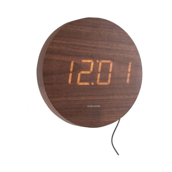 Brązowy zegar ścienny LED Karlsson Round
