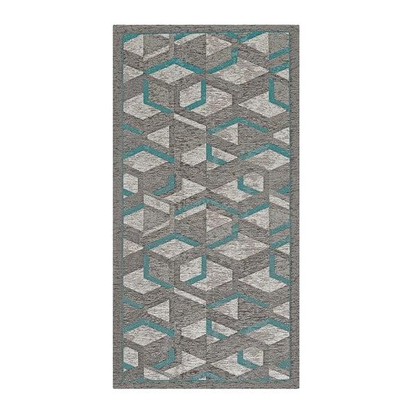 Šedo-modrý běhoun Floorita Hypnotik, 55 x 280 cm
