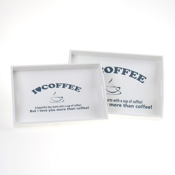 Set 2 dřevěných podnosů Coffee Lover