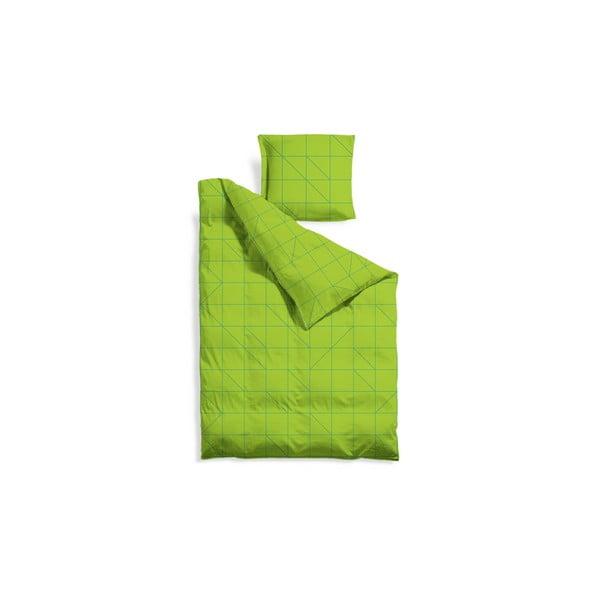 Prodloužené povlečení Green Geometric, 140x220 cm