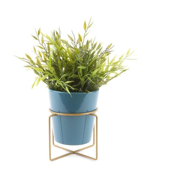 Tyrkysový keramický květináč na podstavci PT LIVING Coy, Ø 11,5 cm