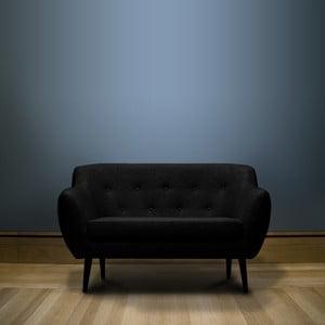 Černá dvoumístná pohovka s hnědými nohami Mazzini Sofas Piemont
