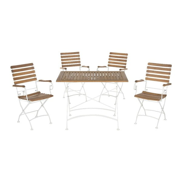 Set zahradního dřevěného stolu a 4 židlí Safavieh Keira