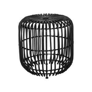 Černý ratanový odkládací stolek WOOX LIVING