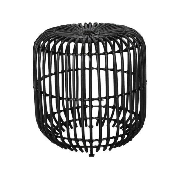 Černý ratanový odkládací stolek WOOX LIVING Ratta