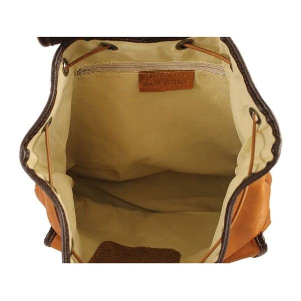 Hnědý kožený batoh Chicca Borse Becky