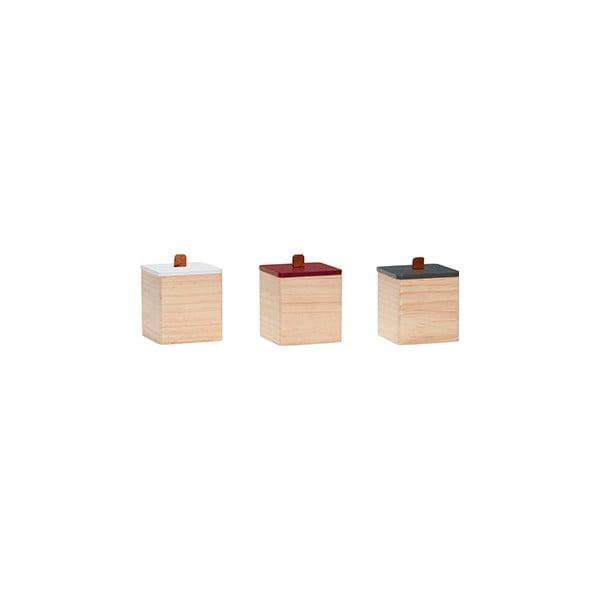 Sada 3 dřevěných dóz s víčky Hübsch Storage Box