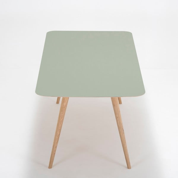 Jídelní stůl z masivního dubového dřeva se zelenou deskou Gazzda Linn, 200x90cm