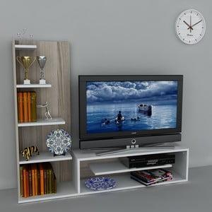 Televizní stěna Sleek White/Cordoba, 29,5x160x121,8 cm