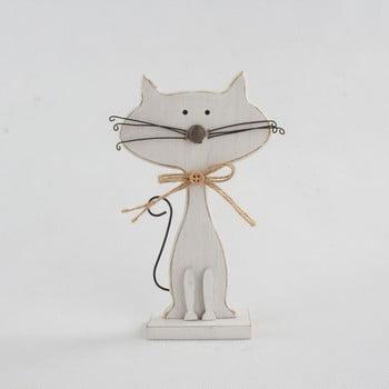 Decorațiune din lemn în formă de pisică Dakls Cats, înălțime 18cm, alb
