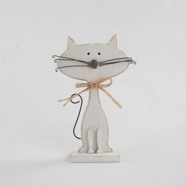 Decorațiune din lemn în formă de pisică Dakls Cats, înălțime 25cm, alb