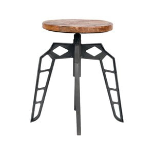 Šedá stolička se sedákem z mangového dřeva LABEL51 Pebble