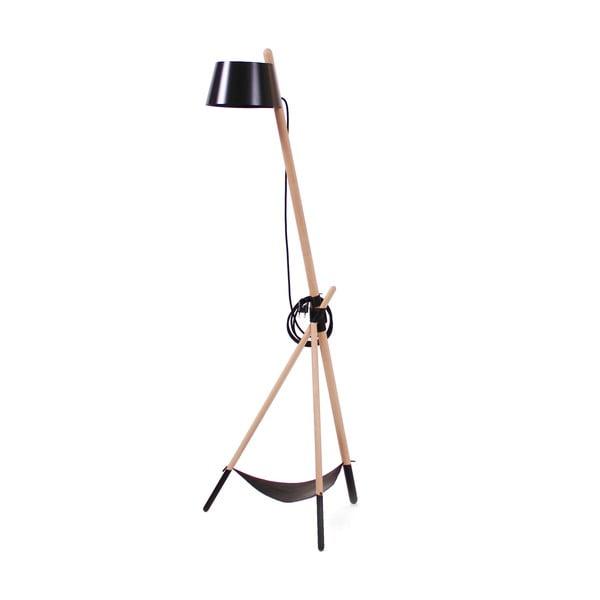 Černá volně stojící lampa s odkládacím prostorem Woodendot Ka M