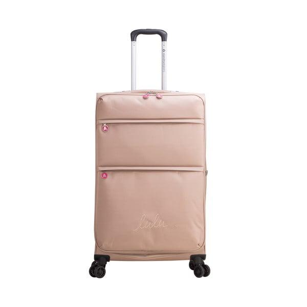 Beżowa walizka z 4 kółkami Lulucastagnette Luciana, 71 l