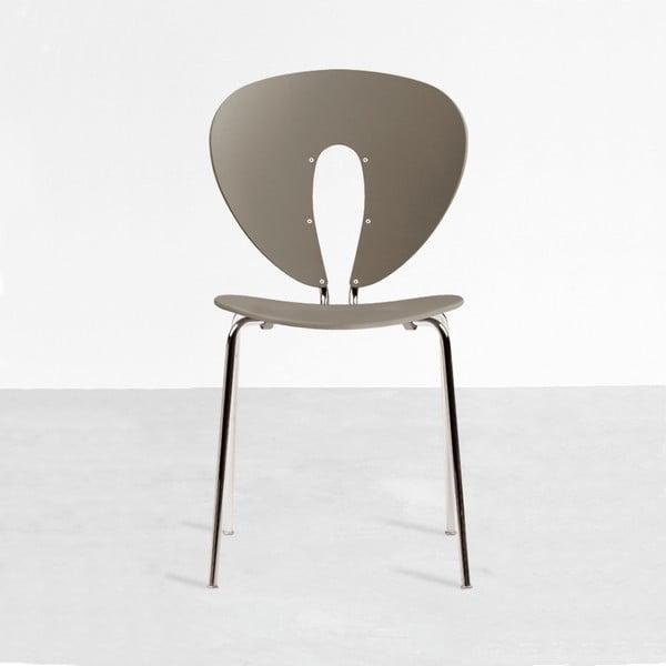 Šedá židle s lesklými chromovanými nohami Stua Globus