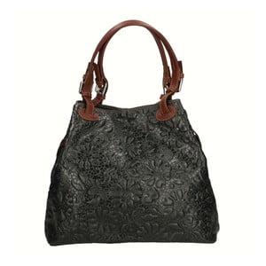 Černá kožená kabelka Chicca Borse Origono