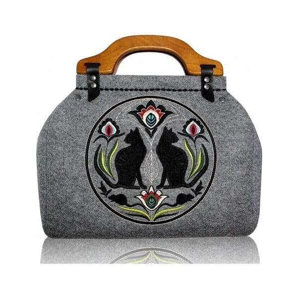 Plstěná vyšívaná kufříková kabelka New Folk Kočky