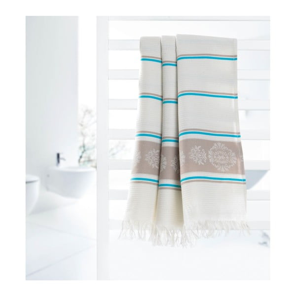 Prosop hammam L Deco Bianca Loincloth Fife Blue, 80 x 170 cm, albastru - bej