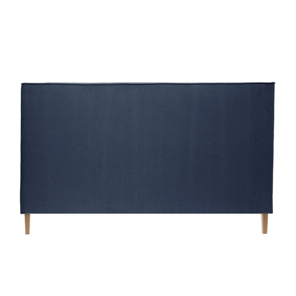 Modrá postel s přírodními nohami Vivonita Kent,140x200cm