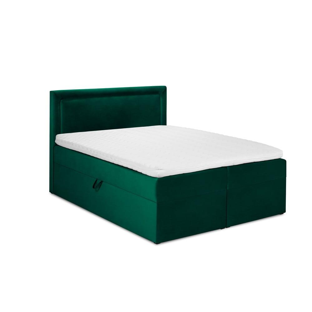 Zelená sametová dvoulůžková postel Mazzini Beds Yucca, 200 x 200 cm
