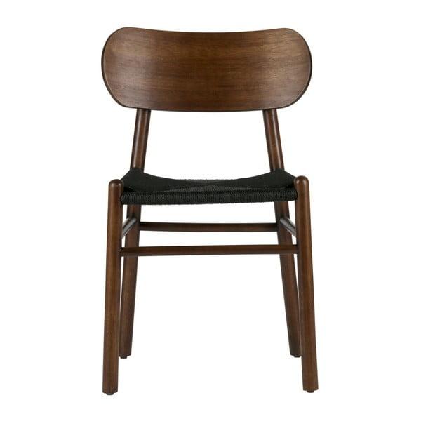 Tmavě hnědá jídelní židle z gumovníkového dřeva s ratanovým sedákem De Eekhoorn Jointly