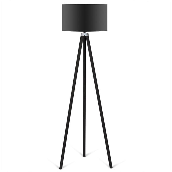 Siyah fekete állólámpa fekete lámpabúrával - Kate Louise
