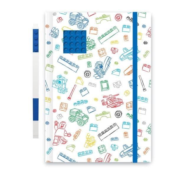 Modrobílý zápisník A5 s modrým perem LEGO®, 96stran