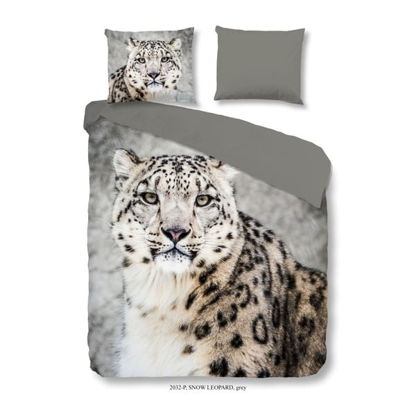 Povlečení na jednolůžko z bavlny Good Morning Premento Snow Leopard, 140 x 200 cm
