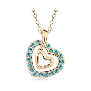 Pozlacený náhrdelník s modrými krystaly Swarovski Caricia
