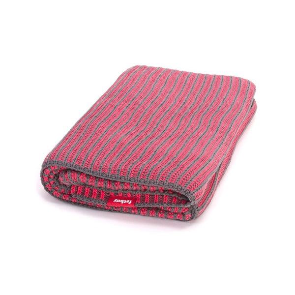 Šedo-růžová vroubkovaná deka Fatboy Klaid