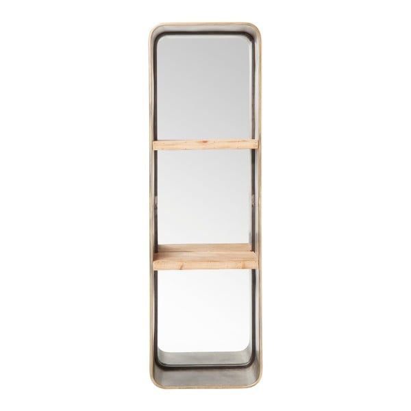 Nástěnné zrcadlo s policemi Kare Design Curve, 120x36cm