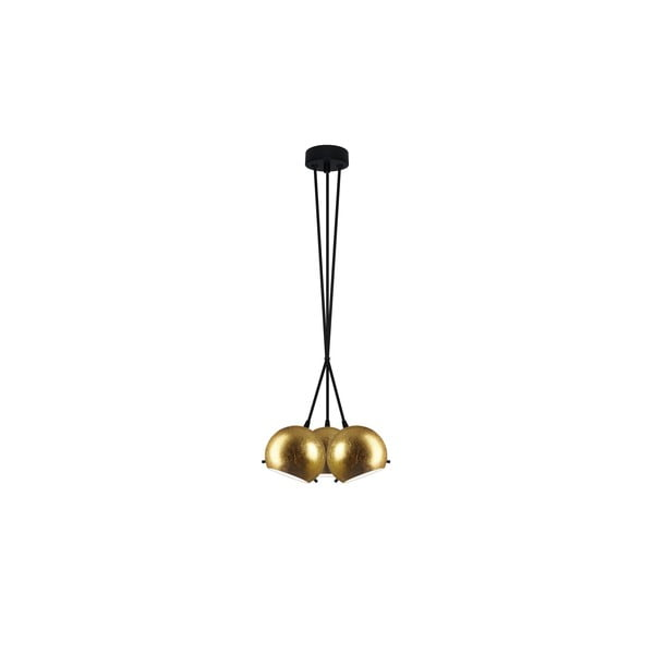 Złota potrójna lampa wisząca z czarnymi kablami Sotto Luce Myoo