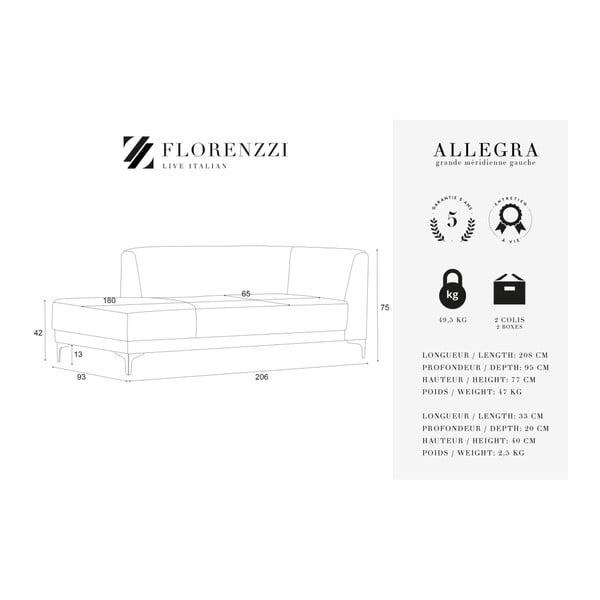 Antracitově šedá lenoška s vysokým bočním opěradlem Florenzzi Allegra, levástrana