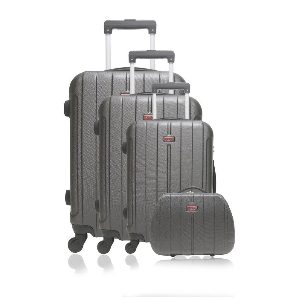 Sada 4 tmavě šedých cestovních kufrů na kolečkách Hero Fogo-C