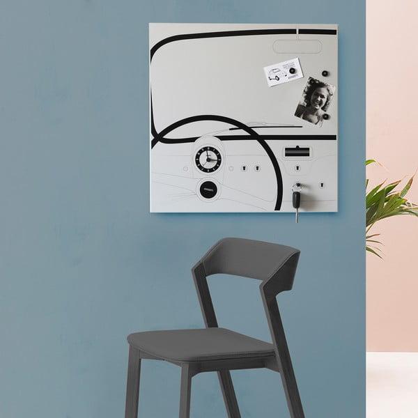 Nástěnná tabule s hodinami dESIGNoBJECT.it Cinquino,50x50cm