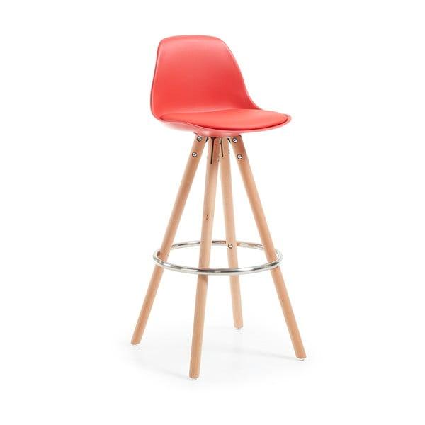 Scaun de bar cu picioare din lemn Forma Stag, roşu