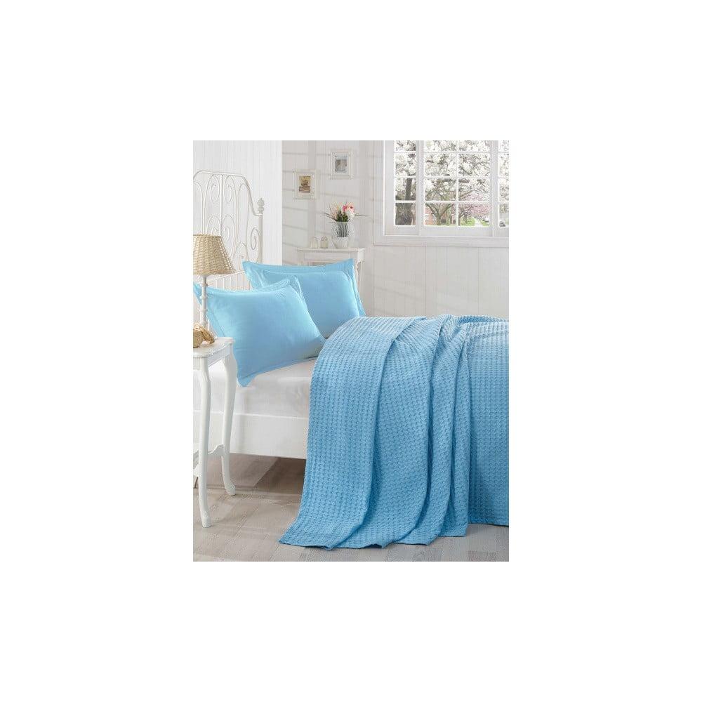 Modrý lehký přehoz přes postel Boya, 200 x 235 cm