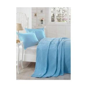 Modrý lehký přehoz přes postel Boya, 200x235cm