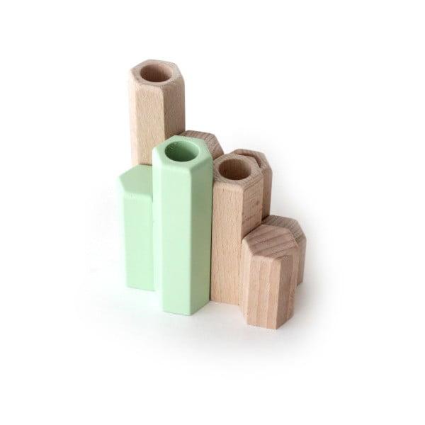 Zelený stojan na svíčky z masivního bukového dřeva HARTÔ