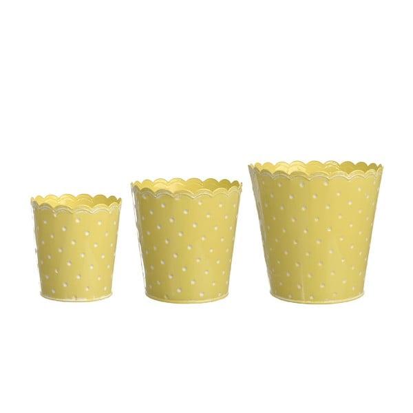 Sada 3 květináčů Yellow Zinc
