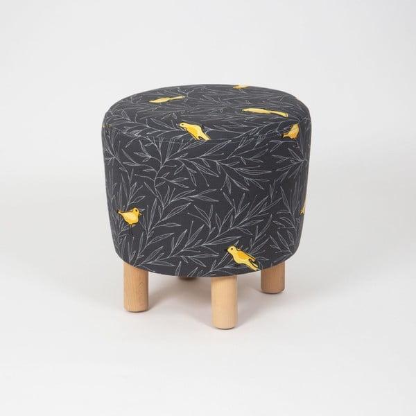 Čierny taburet s drevenými nohami Cono Canarito, ⌀ 41 cm