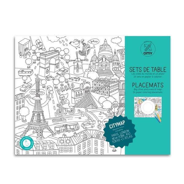 Prostírání omalovánky pro děti City Map, 24 ks