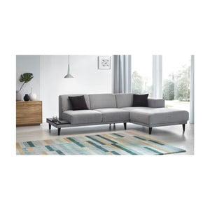 Canapea cu 3 locuri și șezlong pe partea dreaptă Bobochic Paris Leo, gri
